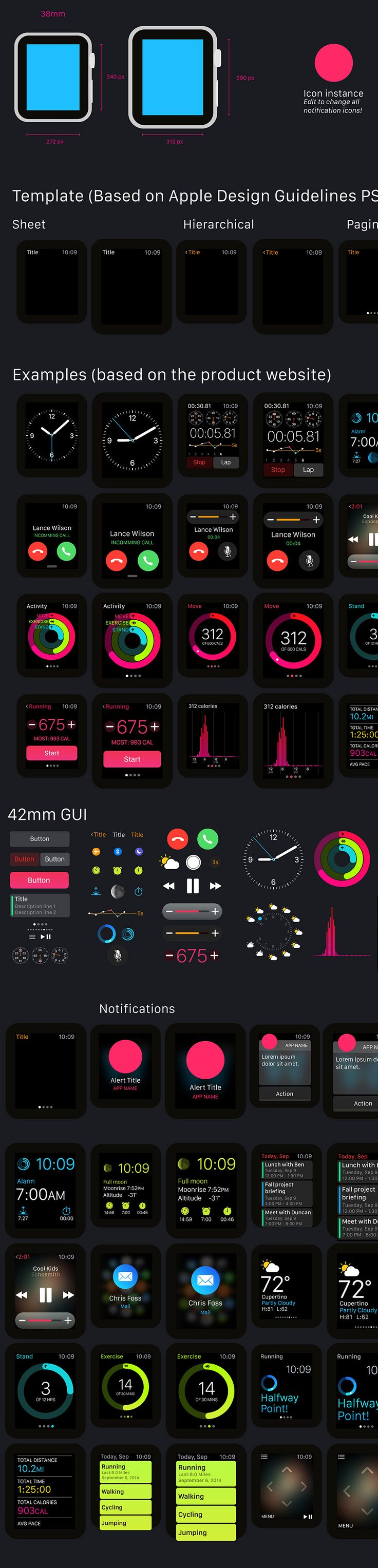 #Freebie Apple Watch GUI for illustrator