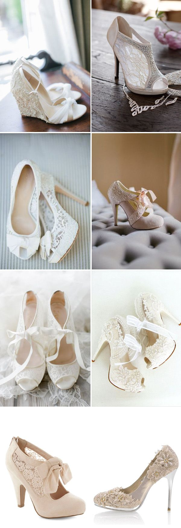 lace wedding heels and shoes / http://www.deerpearlflowers.com/most-wanted-wedding-shoes-for-bride/