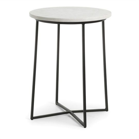Amora B Marble Top Iron Round Side Table
