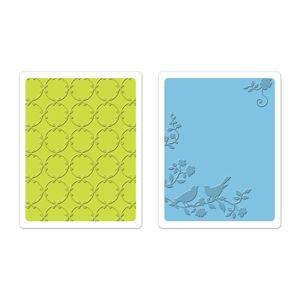 Sizzix Textured Impressions Embossing Folders 2PK - Songbirds & Lattice Set €11,50