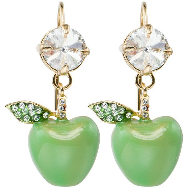 Apple Earrings with Crystals ($390) ❤ liked on Polyvore featuring jewelry, earrings, earring jewelry, nickel free earrings and nickel free jewelry