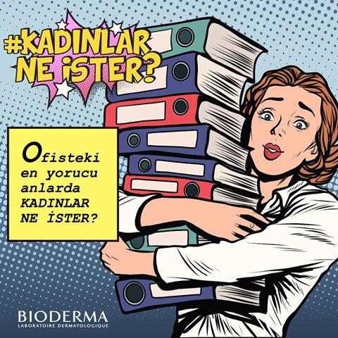Ofiste yoğun bir günün tam ortası ve cildiniz hızla yorgunluk sinyalleri vermeye başlıyor... Sizce böyle bir anda bir cilt bakım ürününden #KadınlarNeİster? kozmium.com/m/bioderma #bioderma