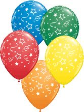 Stars Dots and Confetti Carnival Assortment Latex Round 11in 27 5cm