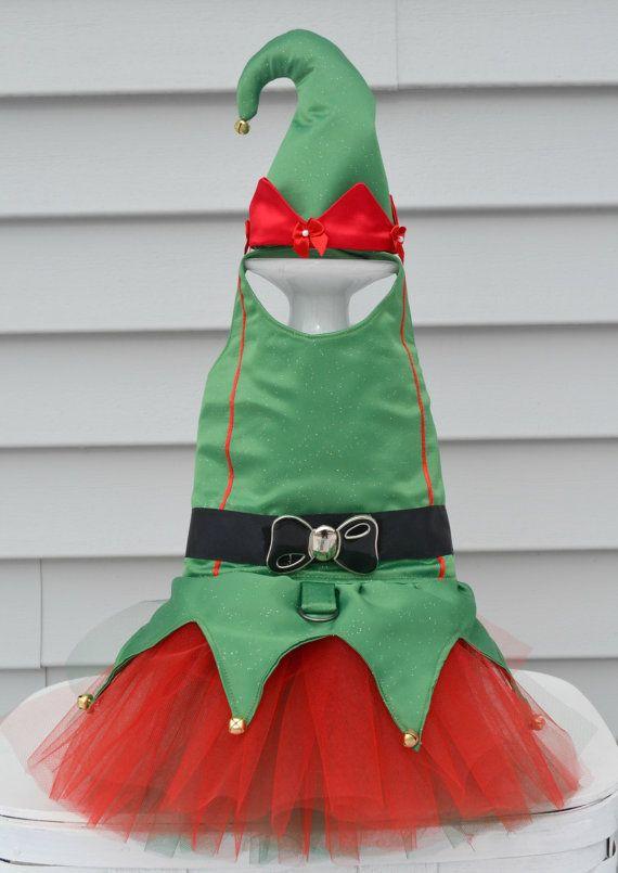 Perro vestido Elf Navidad arnés Tutu disfraz por KOCouture en Etsy                                                                                                                                                                                 Más