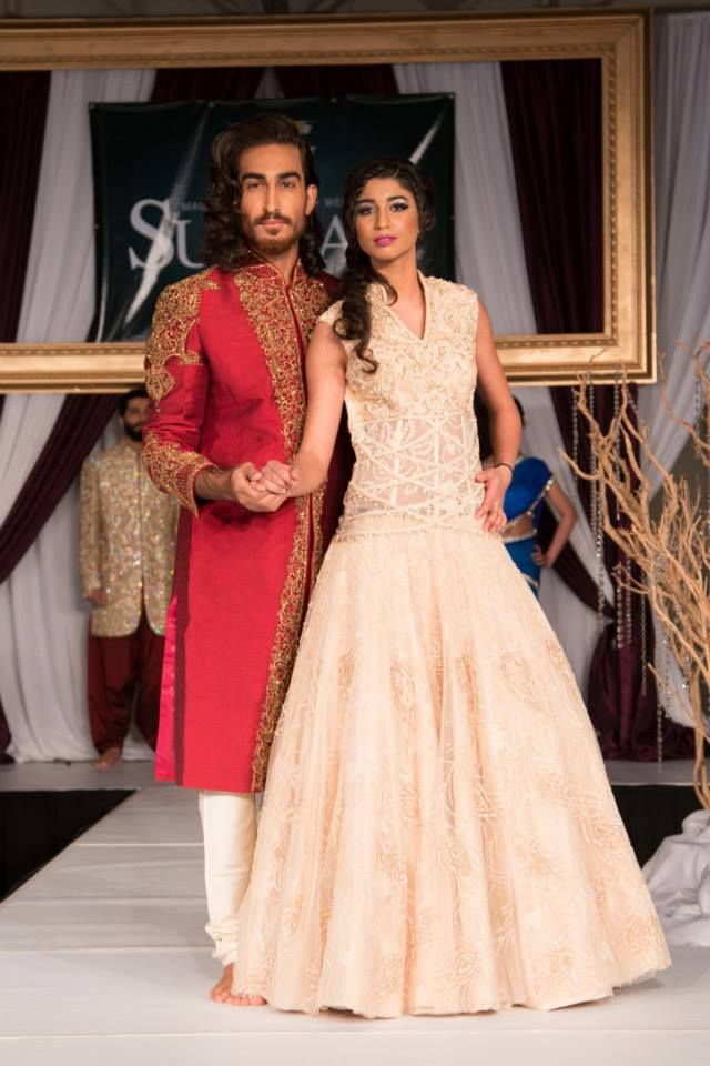 Another bride and groom design hits the catwalk at the 2014 Suhaag Wedding Show from Chandan Fashion