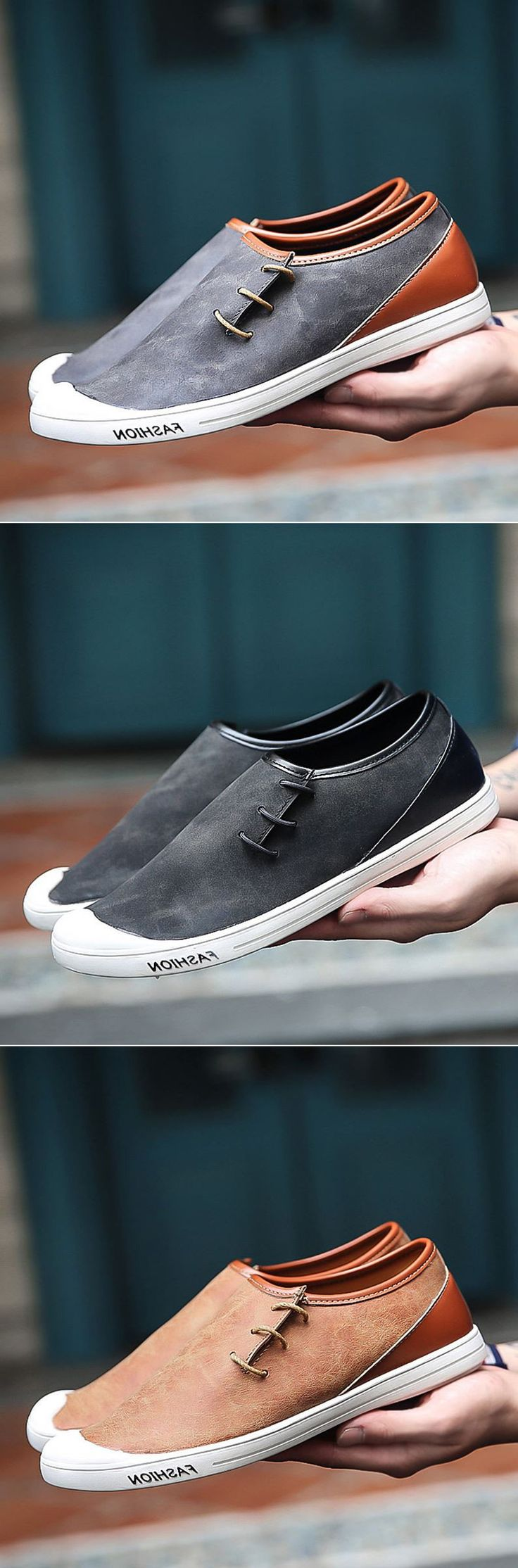 Men Color Blocking Light Skateboarding Shoes Flat Casual Trainers