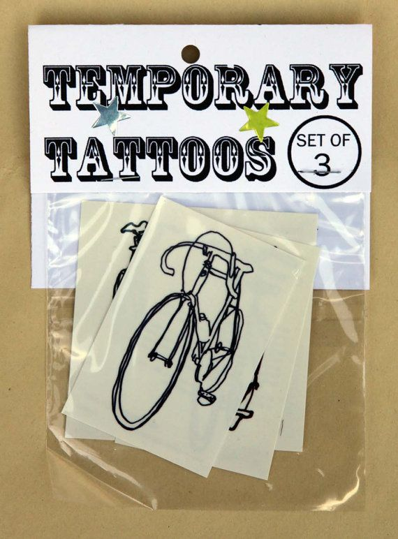 Super Cool  Bicycle Temporary Tattoos  - Fixed Gear - Fake Tattoo