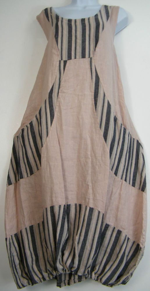 PLUS PLUS SIZE 100% LINEN STRIPY LAGENLOOK DRESS WITH FRONT POCKETS SIZE 16-20   Clothing, Shoes & Accessories, Women's Clothing, Dresses   eBay!