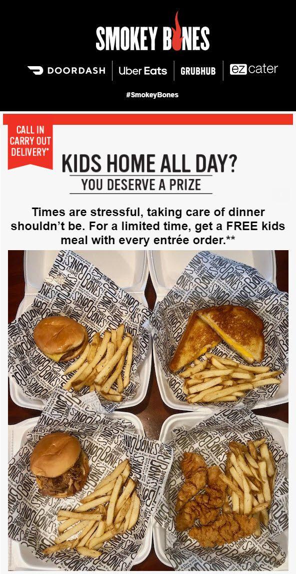 Kids Eat Free At Smokey Bones Kids Eat Free Free Kids Meals Fire Grill
