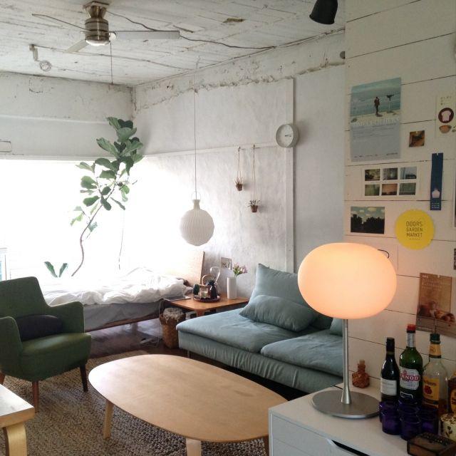 towaさんの、ベッド,レクリント,植物,IKEA,照明,Jasper Morrison,ソファ,無印良品,部屋全体,のお部屋写真