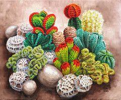 Crocheted rock garden (vera cauwenberghs) Tags: cactus plants rock garden painting knitting rocks crochet oil succulents realism yarnbombing