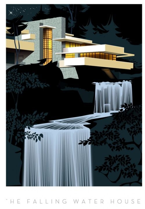 'The Falling Water House' by Frank Lloyd Wright (image via Monsieur Z   Unit c.m.a.)