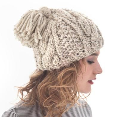 Cabled Tassel Hat by Lion Brand Knit Kit