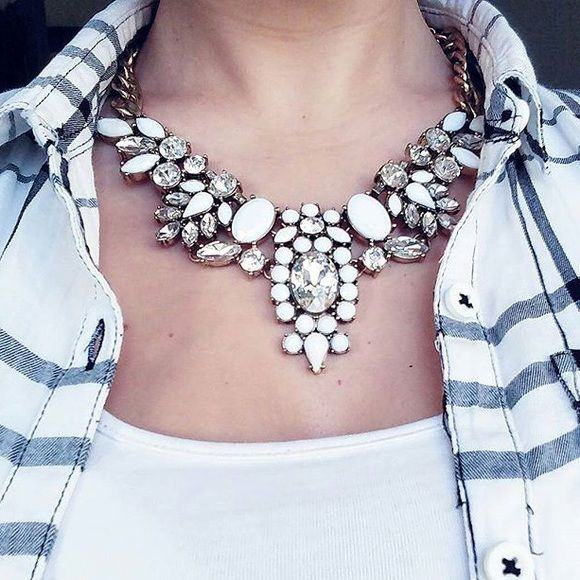 Gorgeous White Statement Necklace New white statement necklace j crew style (cover photo taken by ig _its.me.hannah_ ) Jewelry Necklaces