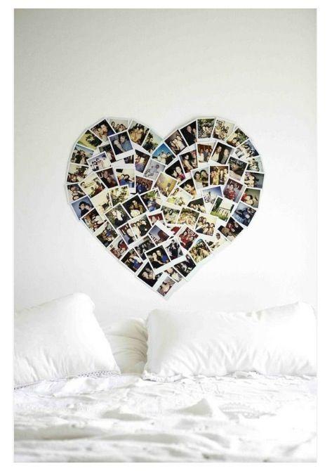 polaroid coeurs photo deco mur futur projet chambre en 2019 photo heart heart collage et. Black Bedroom Furniture Sets. Home Design Ideas
