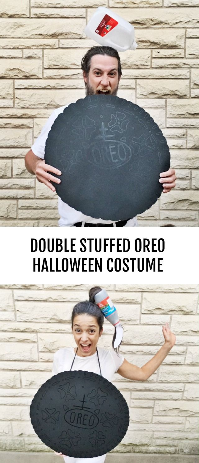 DIY Double stuffed Oreo Halloween couples costume #halloweencostumes