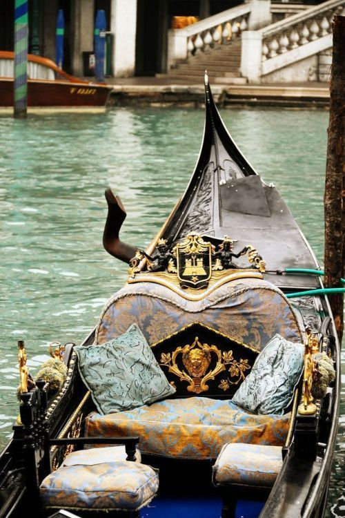 """A beautiful snuggle spot for us. The gondolier can drive. """" Gondola~~Venice, Italy """""""