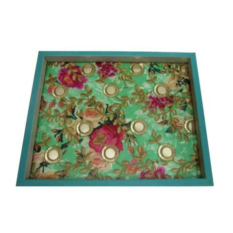 Printed Embellished Flowers Wooden Serving Tray  - FOLKBRIDGE.COM | Buy Gifts. Indian Handicrafts. Home Decorations.