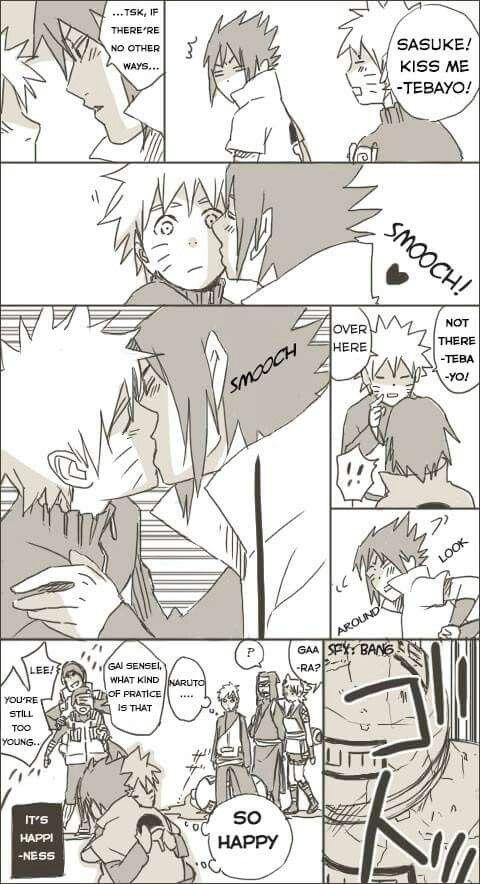 Sasuke kiss me! Not my art #narusasu #sasunaru