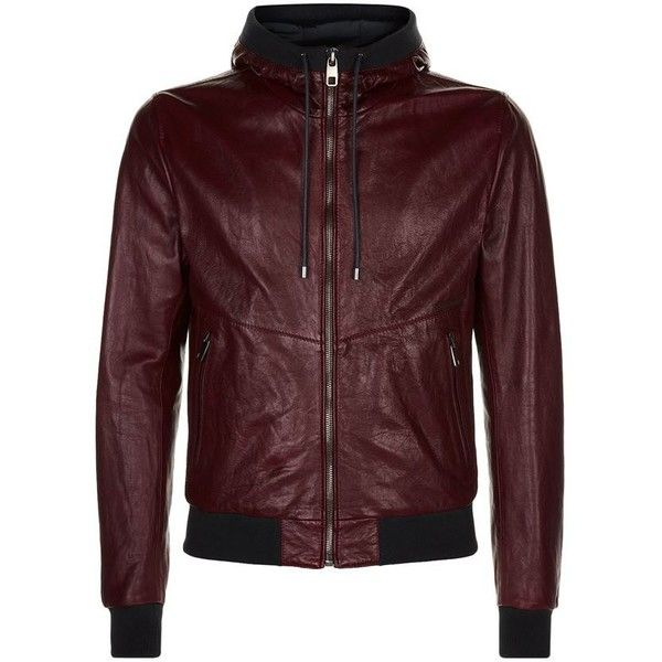 Dolce & Gabbana Leather Bomber Jacket ($2,255) ❤ liked on Polyvore featuring men's fashion, men's clothing, men's outerwear, men's jackets, mens red leather jacket, mens leather bomber jacket, mens leather jackets, mens red jacket and mens leather flight jacket
