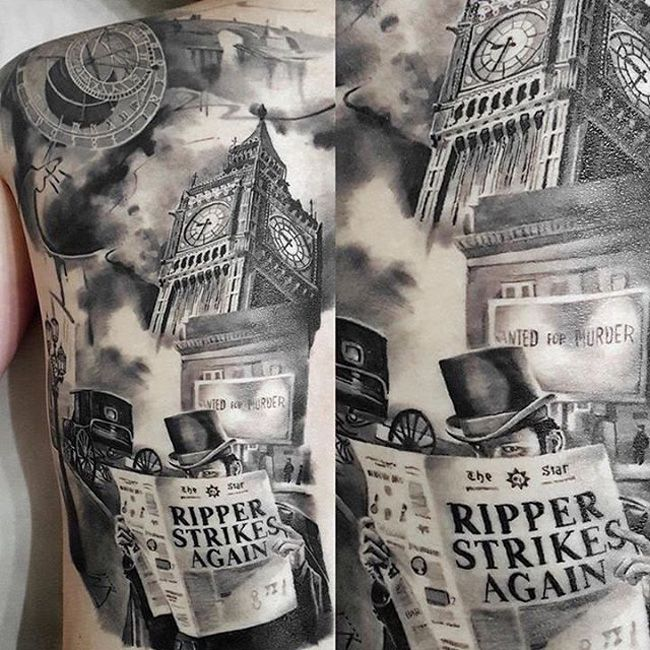 Jack the Ripper Full Back Tattoo