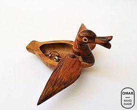Krabičky - Drevená krabička Kačička | Wooden duck jewelry box - 8118790_