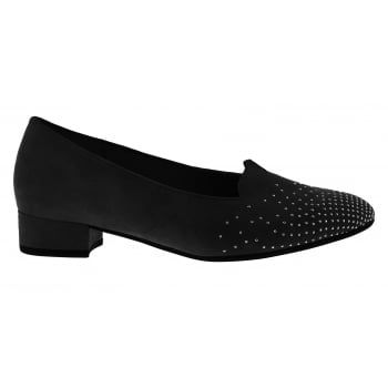 Gabor Shape is a stylish Court Shoe with a low 30mm Heel, the jewel detail toe livens the shoe up so it can be worn day or night. Easy slip-on design with a super soft cushioned leather insole for maximum comfort, perfect if you're on your feet all day. Complete with a hard-wearing textured Rubber sole for added grip and stability. http://www.marshallshoes.co.uk/womens-c2/gabor-womens-shape-black-court-shoe-62-213-47-p4510