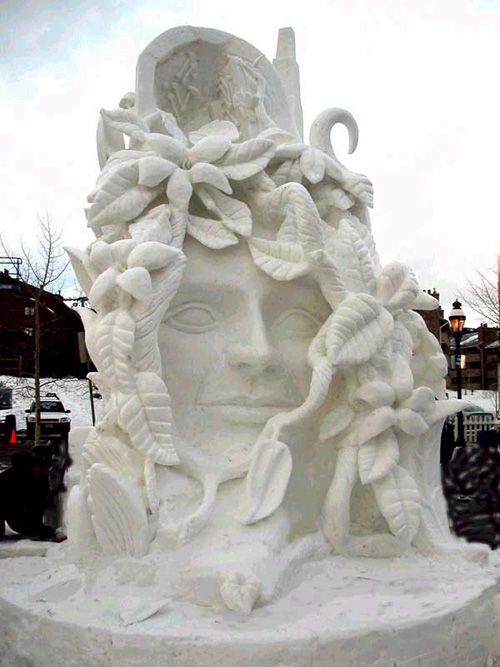 """paradigm shift"" snow sculpture http://www.rockymountaindreamhome.com/SnowScultpure2004.html"