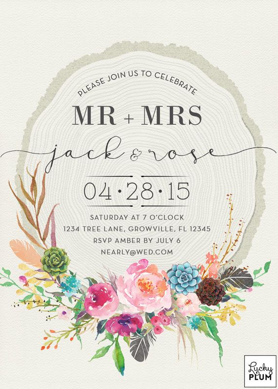Flower Boho Engagement Invitation / Feather by LuckyPlumStudio
