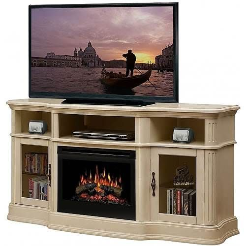 Tv stand with fireplace insert and White electric fireplace