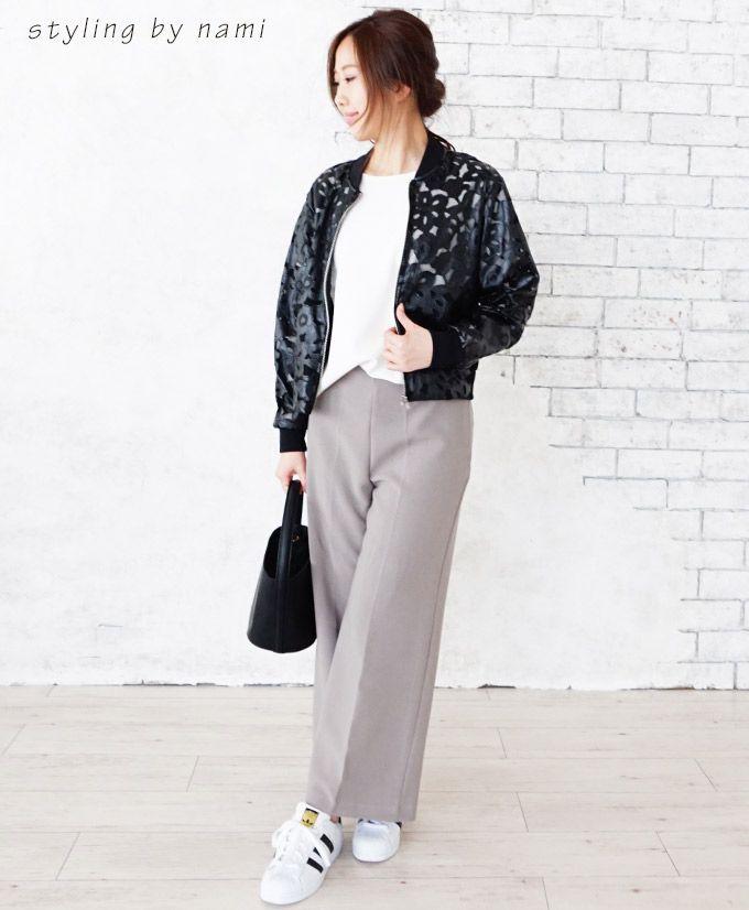 【楽天市場】(ブラック)透け感が素敵な花レースのフェイクレザージャケット3/15新作:Style for mom