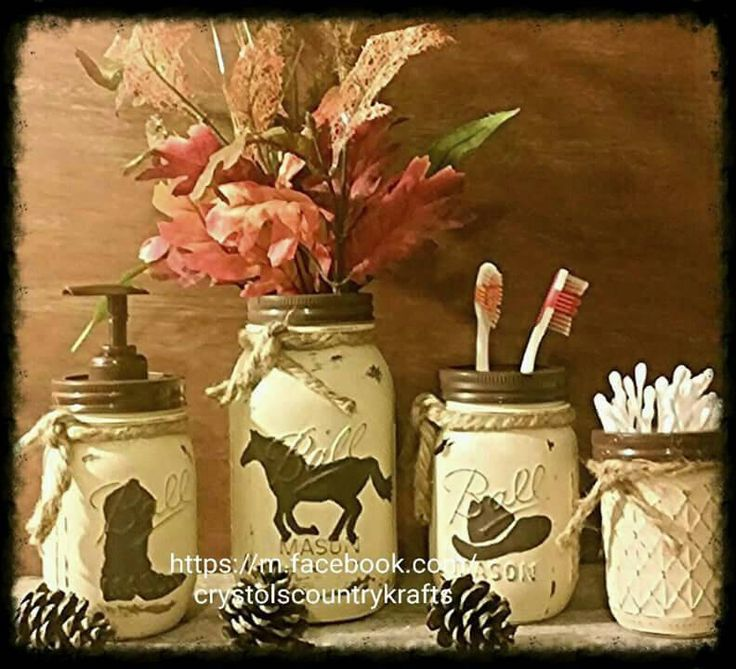 western mason jar 4 piece bathroom set features horse, cowboy boot and hat toothbrush soap dispenser vase plus one small jar, cream & brown by CrystolsCountryKraft on Etsy https://www.etsy.com/listing/466915227/western-mason-jar-4-piece-bathroom-set