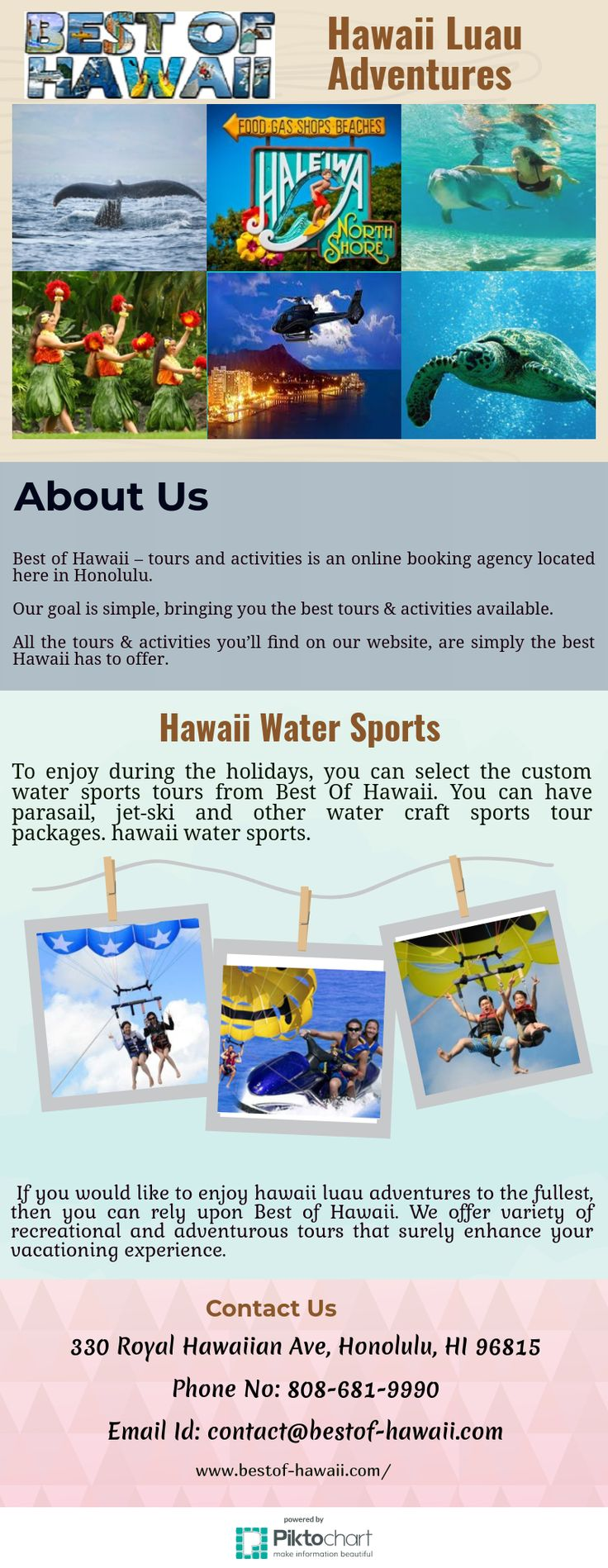 To enjoy hawaii water sports during the holidays, you can select the custom water sports tours from Best Of Hawaii. You can have parasail, jet-ski and other water craft sports tour packages.