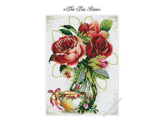 The Tea Rose  Cross Stitch Pattern PDF  by DianaShopUkraine