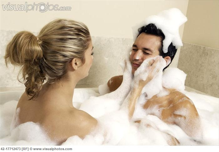 Young couple having bubble bath bubble bath pinterest for Bathroom ideas for couples