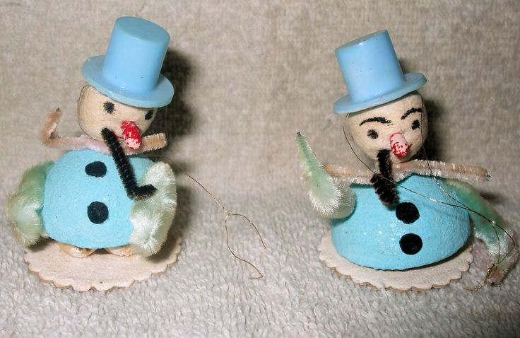 """Christmas Ornaments 1:  two hand-made snowman ornaments with blue top hats, on a neutral background.  Image size 1500 x 975px; prints at 5 x 3.25""""."""