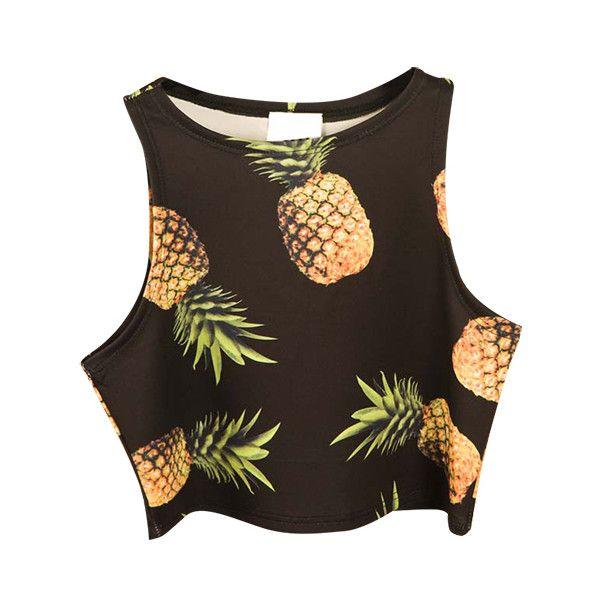 Chicnova Fashion Pineapple Print Sleeveless Round Neck Crop Top found on Polyvore