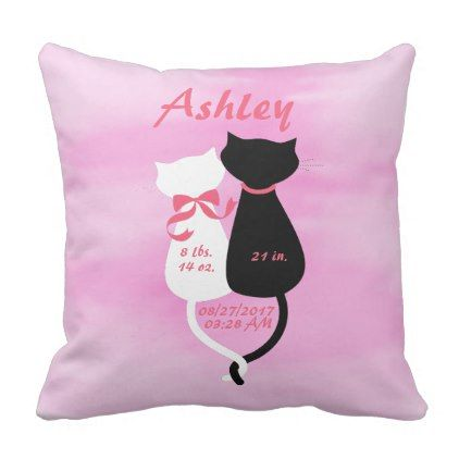 Pink Girl Kitty Kitten Cat Birth Announcement Throw Pillow - decor gifts diy home & living cyo giftidea