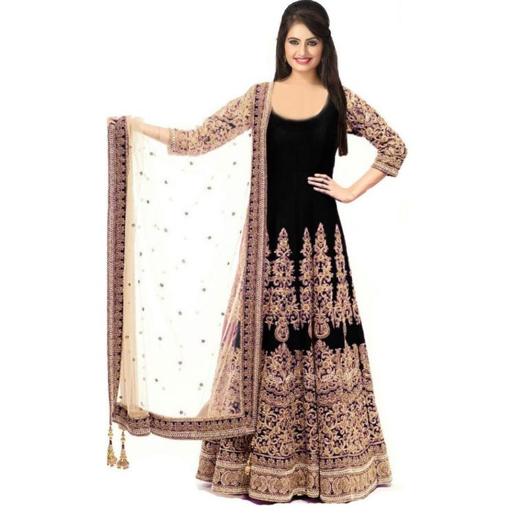 Artistic Black Color Heavy Zari Work Embroiderey Work Semi Stitch Gown at just Rs.2475/- on www.vendorvilla.com. Cash on Delivery, Easy Returns, Lowest Price.