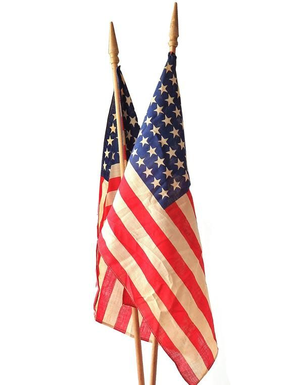 Vintage American Flag 48 Star Stick Two Country Home Vintage American Flag Vintage House American Flag