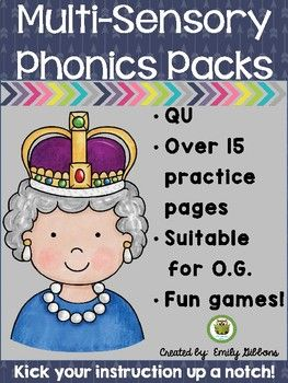 """Your 1st, 2nd, 3rd, 4th grade and home school students will enjoy this QR multisensory phonics practice. Use a multisensory approach to teach words with """"QU"""" will ensure reading and fluency success for your students. This pack is suitable for reading intervention, Orton-Gillingham lesson plans or other structured literacy programs. It's great for centers or stations and comes with cursive handwriting practice, games, worksheets, and more! (first, second, third, fourth graders!)"""