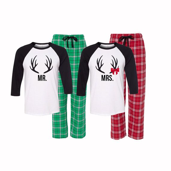 Mr and Mrs Christmas Pajamas Matching by GiftsfortheGirls on Etsy