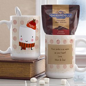 OMG this little marshmellow guy is so cute!!! It's a personalized mug from PersonalizationMall - it comes with hot cocoa too! You can personalize it so the little marshmellow's hat displays any name you want! Cute Christmas gift idea for coworkers!: Diy Ideas, Marshmellow S Hat, Christmas Gift Ideas, Marshmellow Guy, Cute Christmas Gifts, Christmas Displays, Xmas Ideas