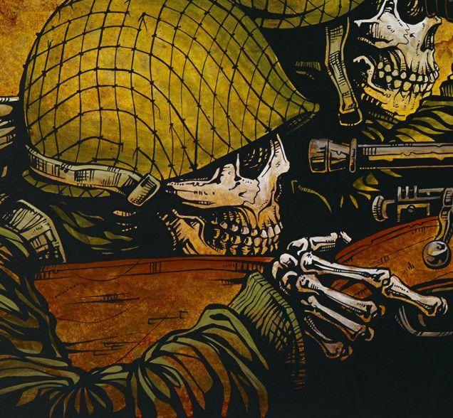 The American sniper and spotter wait for their moment to get a German soldier in the crosshairs. Painting Process The 36 x 14 background was painted with a variety of yellow, brown, and blue acrylics