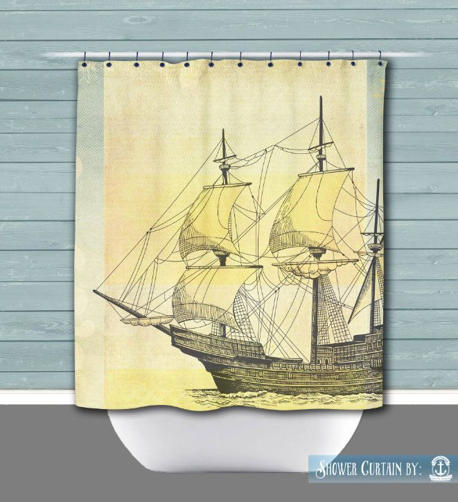 Yellow Ship Shower Curtain: Sailing Ship Nautical Beach House Style   12 Eyelet/Button Hole   Size and Pricing via Dropdown by BrandiFitzgerald on Etsy https://www.etsy.com/listing/277942808/yellow-ship-shower-curtain-sailing-ship