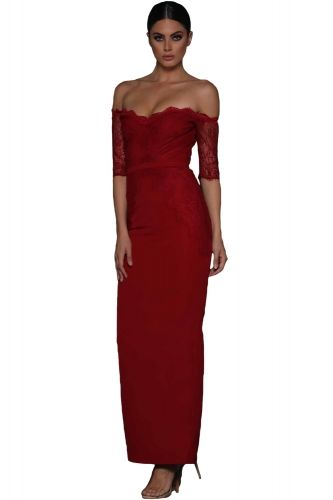 bee01548fba5 US  11.48-Red Sheer Lace Sleeve Off Shoulder Maxi Dress Dropshipping