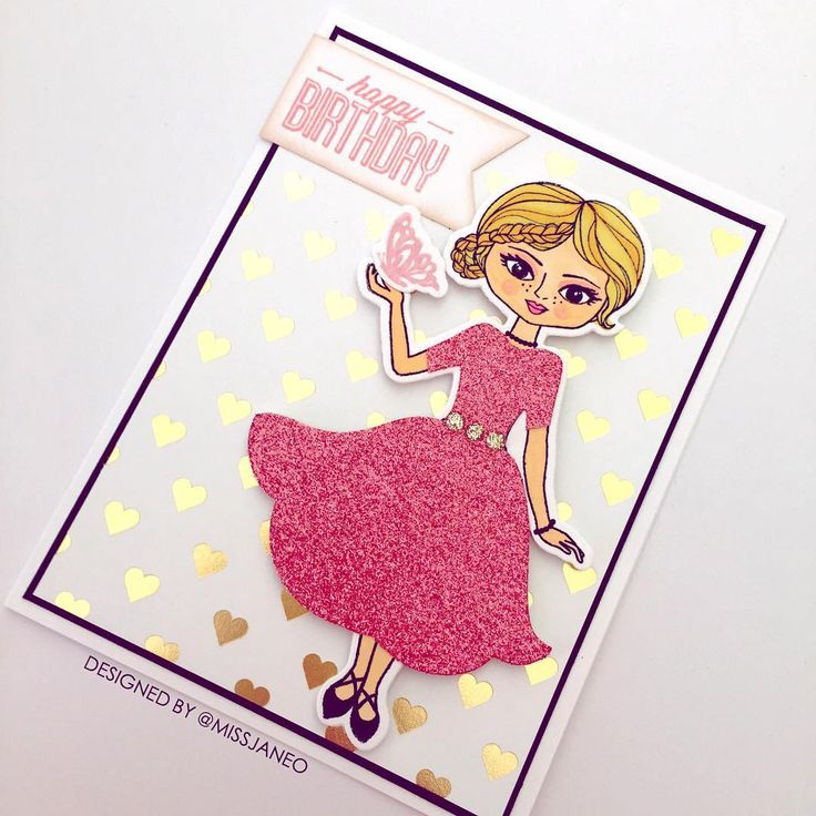Birthday Card with CTMH Rain & Shine Paper Doll & Pink Glitter Paper.