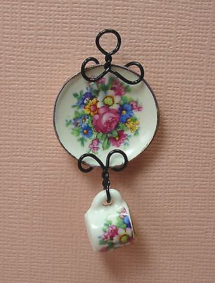 Dollhouse Miniature Victorian Floral Plate and Mug Set Doll House Furniture