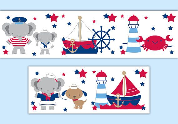 NAUTICAL NURSERY BORDER Elephant Sailboat Decal Wall Art Stickers Room Decor Boy Baby Shower Decorations Sailing Boat Crab Lighthouse Anchor #decampstudios