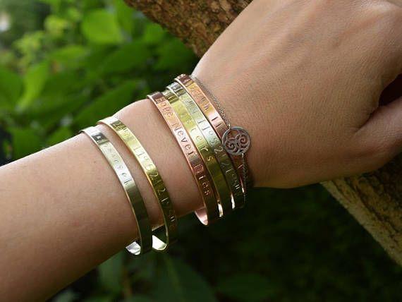 Custom Name Custom Bracelet Coordinates Silver Rose Gold